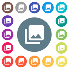 Photo library flat white icons on round color backgrounds