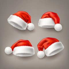 Vector realistic santa christmas holiday hat set