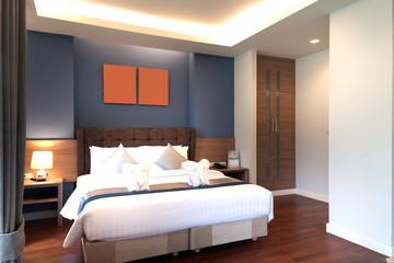 Comfort hotel bedroom in luxury style