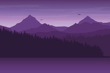Mountain landscape with forest and hill on the shore of the lake, under morning or evening purple sky