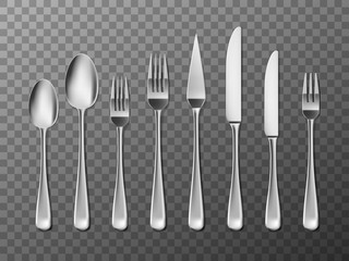 Steel Cutlery, knife, fork and spoon in realistic style. Cutlery set design isolated. Vector illustration