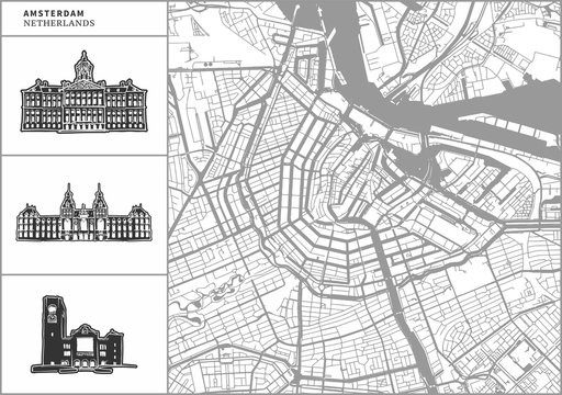 Amsterdam city map with hand-drawn architecture icons
