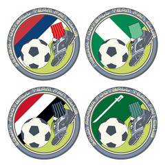 Soccer Fan Logo vol.4. Vector illustration of a color logo for football fans of teams from Serbia, Nigeria, Egypt and Saudi Arabia.