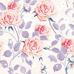 Beautiful Seamless wallpaper with flowers on a white background. Elegance floral vector illustration.