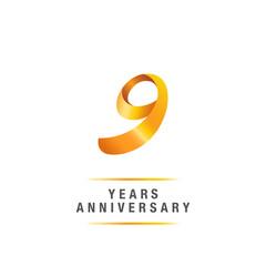 9 years golden anniversary celebration logo , isolated on white background