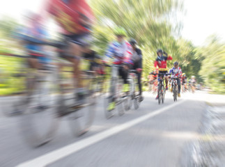 Motion blur of Asian Cycling Championship during the race for background