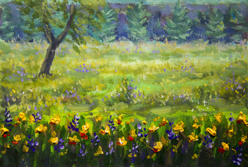 Flower oil painting. Violet, orange yellow flowers field close-up, oil paintings landscape impressionism artwork