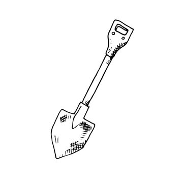 Hand Drawn shovel doodle. Sketch style icon. Decoration element. Isolated on white background. Flat design. Vector illustration