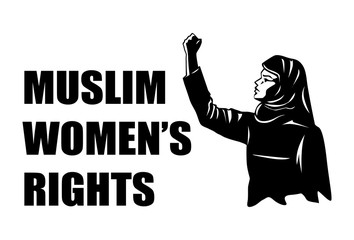 Illustration of Muslim woman raising fist, Vector