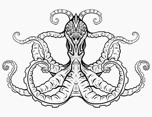 Contour black and white illustration of octopus. The object is separate from the background. Linear illustration for printing on T-shirts, covers, sketches of tattoos and your design.