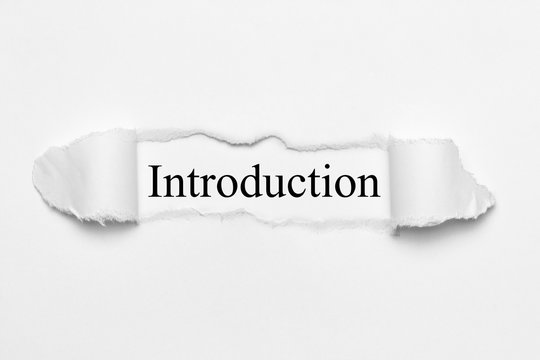 Introduction on white torn paper