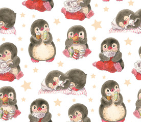 Seamless pattern with cute penguins.