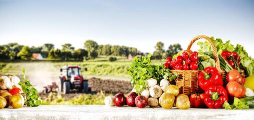 Foto op Plexiglas Keuken vegetables and rural landscape