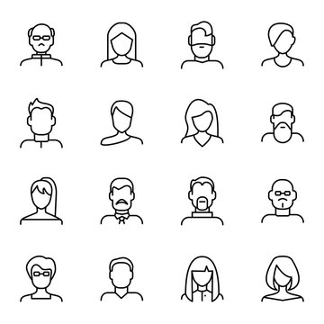 Face Various Types Signs Black Thin Line Icon Set. Vector