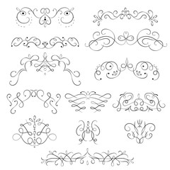 Swirling Floral Elements Black Thin Line Icon Set. Vector