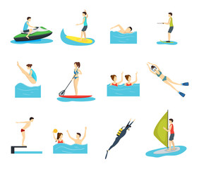 Cartoon Water Sport and Characters People Set. Vector