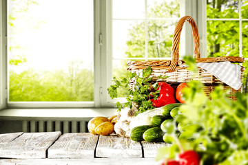 fresh vegetables and white wooden table with window background