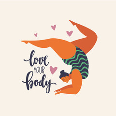 Happy yoga girl. Happy body positive concept. Different is beautiful. Attractive overweight woman. For Fat acceptance movement no fatphobia. Vector illustration on retro background.