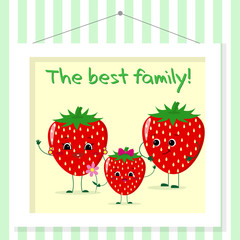 Family of strawberries smileys, mom, dad and kid in cartoon style. Pictured in a painting that hangs on a striped wall.
