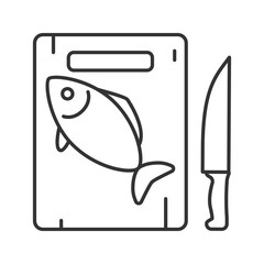 Cutting board with fish and knife linear icon