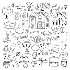Cute school doodle illustrations. Welcome back to school hand drawn icons and symbols