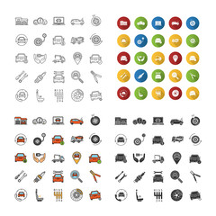 Auto workshop icons set