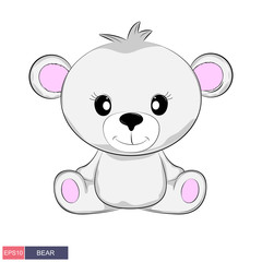 Hand drawn vector illustration of a cute funny bear. Isolated objects on white background.
