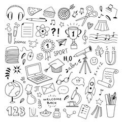 School hand drawn illustrations vector set. Outline school and science objects