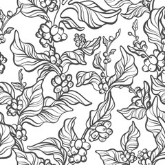 Vector seamless pattern of coffee tree