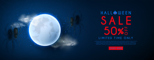 Halloween sale web banner. Vector illustration with realistic full moon and spiders on dark blue background with spider web pattern. Seasonal offer with discount.