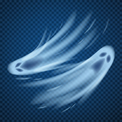 Realistic ghosts isolated on transparent. Vector illustration of 3d symbol of halloween.