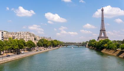 Paris Eiffel Tower and river Seine in Paris, France.