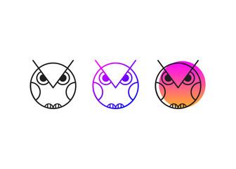 Canvas Prints Owls cartoon abstract geometric line owl