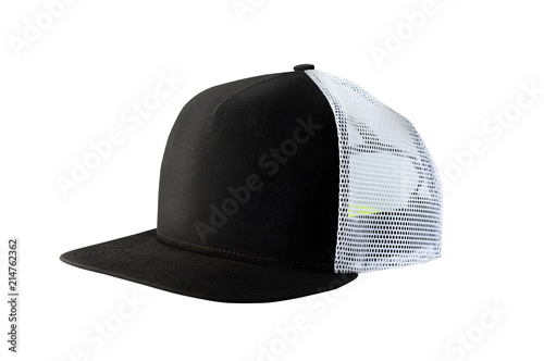 3acc7583 Side view of black baseball cap or trucker hat isolated on white background