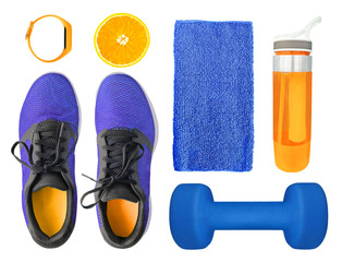 Top view of sport accessories and equipment for fitness and training. Running shoes, dumbbell, water bottle etc. isolated on white background. Healthy lifestyle concept