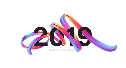 2019 New Year on the background of a colorful brushstroke oil or acrylic paint design element. Vector illustration