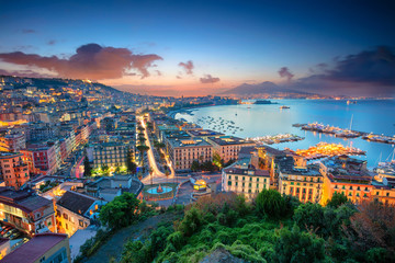 Spoed Fotobehang Europese Plekken Naples, Italy. Aerial cityscape image of Naples, Campania, Italy during sunrise.