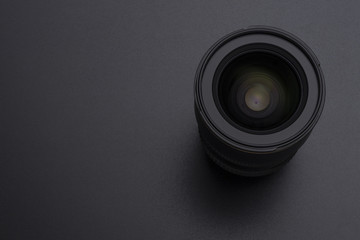 Camera or video lens close-up image on black background