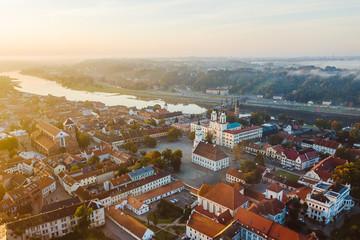 Autumm fog over Kaunas old town, Lithuania