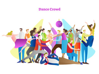 Dance crowd vector illustration. Adult friends and couples enjoying life, club, celebration and active entertainment. Disco light, beam and colorful, modern, casual style