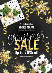 The Christmas sale. Discounts up to 70 percent. Black Banner for website or advertising flyer. Realistic vector. Gold sequins and Christmas gift boxes. Festive new year design template. EPS10.