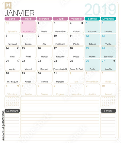 French Calendar January 2019 French Printable Monthly Calendar