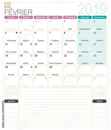 image relating to Calendar February Printable named French Calendar - February 2019 / French calendar 2019