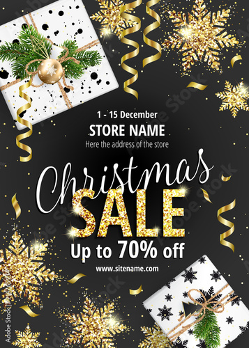the christmas sale discounts up to 70 percent black banner for
