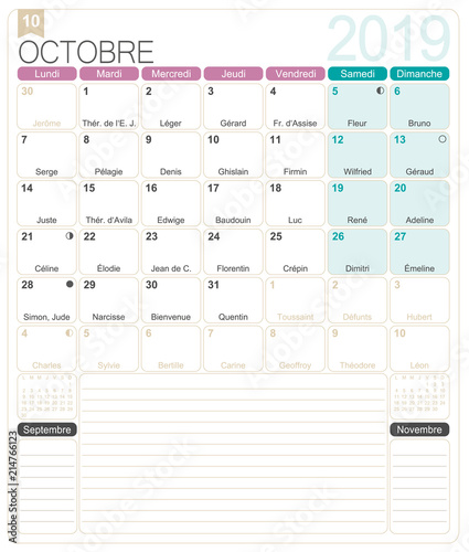 French Calendar October 2019 French Printable Monthly Calendar