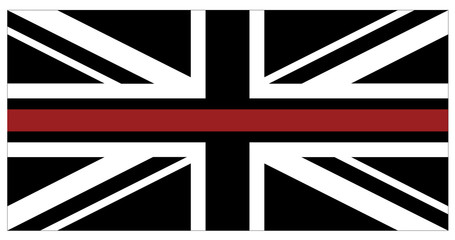 britainBlack flag of United Kingdom with red thin line which represents firefighters in UK