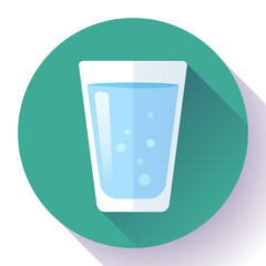 glass of water icon flat design. Clear water glass icon. Save the water