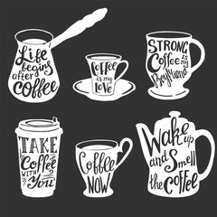 Vector coffee quotes and sayings typography set