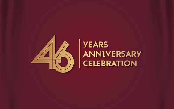 46 Years Anniversary Logotype with  Golden Multi Linear Number Isolated on Red Curtain Background