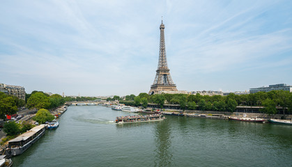 Paris Eiffel Tower and river Seine